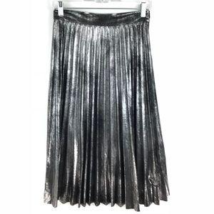 Zara Sz XS Metallic Silver Pleated Midi Skirt